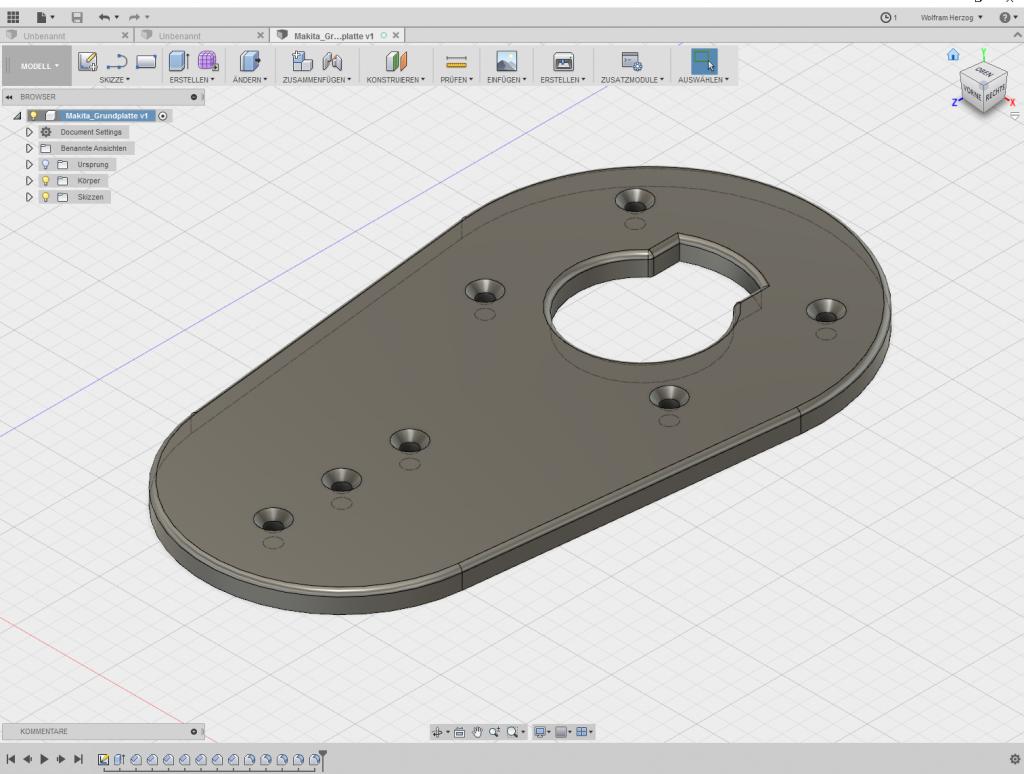 FUSION360 - Konstruktion der Grundplatte